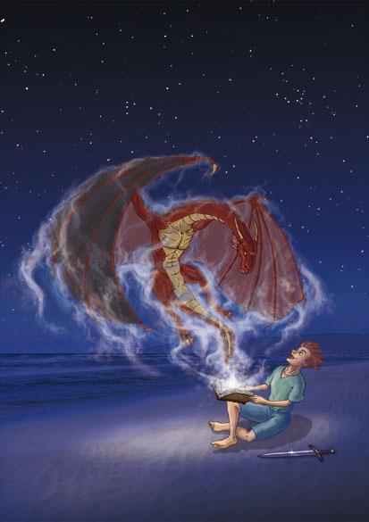 Carte postale d'Agénor Le Ruyer - Dragon et grimoire