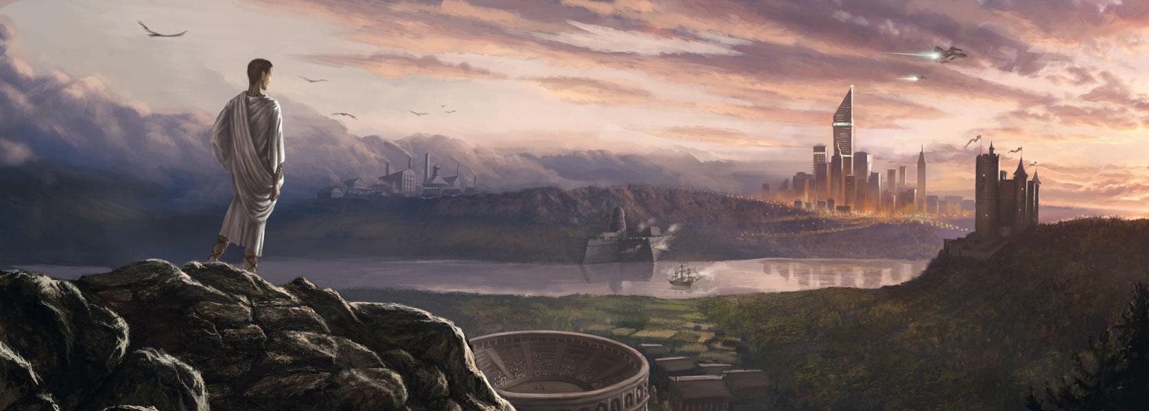 Carte postale panoramique de Clooms - Le Cours du temps